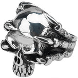 Inox Jewelry 316L Stainless Steel Demon Claw Skull Ring