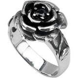 Inox Jewelry 316L Stainless Steel Black Gem Rose Ring