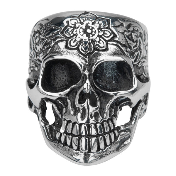 Inox Jewelry 316L Stainless Steel Women's Flower Skull Biker Ring