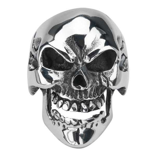 Inox Jewelry 316L Stainless Steel Spider Web Skull Ring