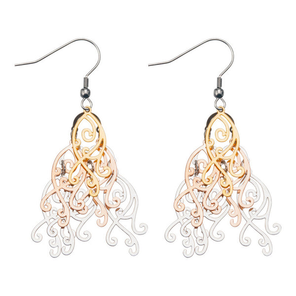 Inox Jewelry 316L Stainless Steel Triple Tone Water Wave Chandelier Earrings