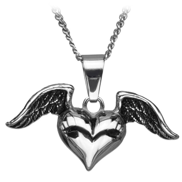 Inox Jewelry 316L Stainless Steel Winged Heart Necklace