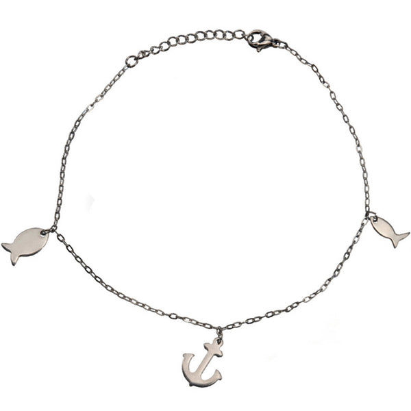 Inox 316L Steel Fish and Anchor Ankle Bracelet