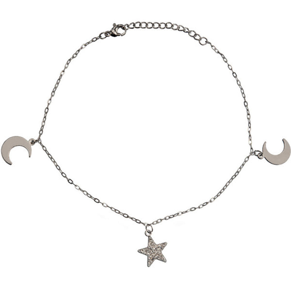 Inox 316L Steel Two Moons Crystal Star Ankle Bracelet