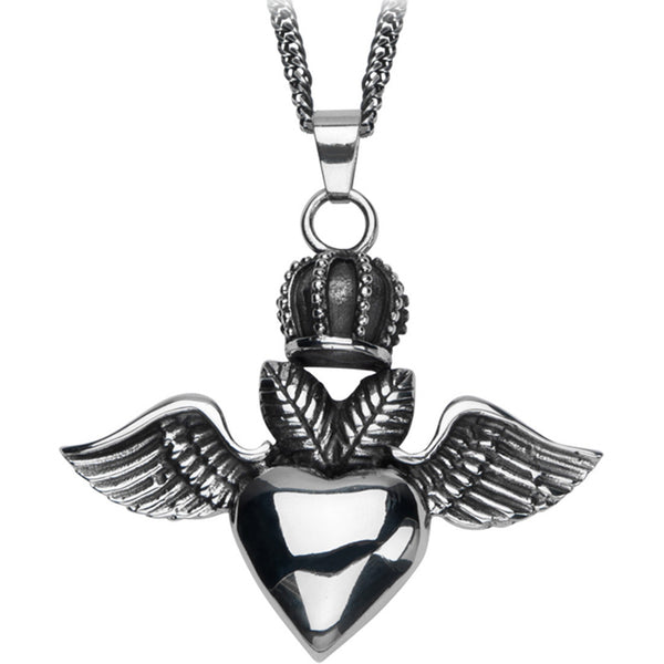 Inox 316L Oxidized Steel Crowned Heart Pendant