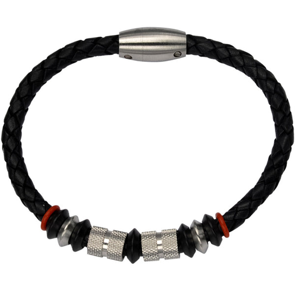 Inox 316L Stainless Steel Braided Leather Clasp Bracelet