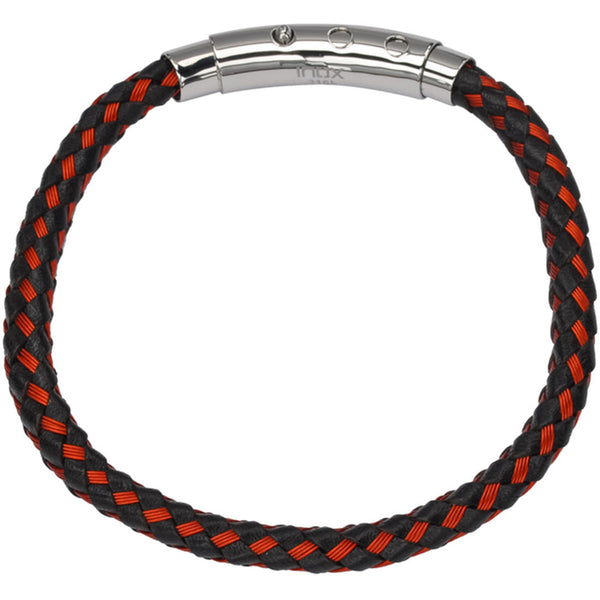 Inox 316L Steel Braided Woven Red Black Leather Bracelet
