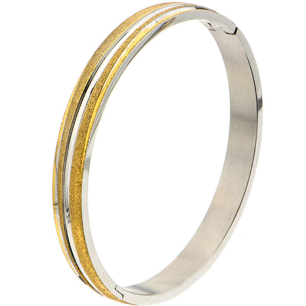 Inox 316L Steel Gold Plated Sand Finish Bangle Bracelet