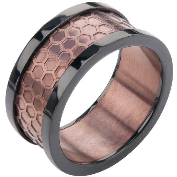 Inox 316L Capuccino Honeycomb Ring