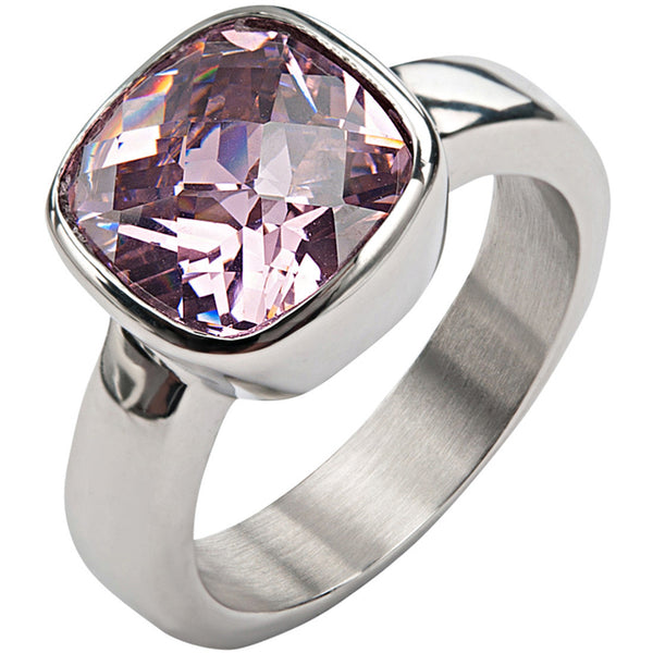 Inox 316L Stainless Steel Blush CZ Ring