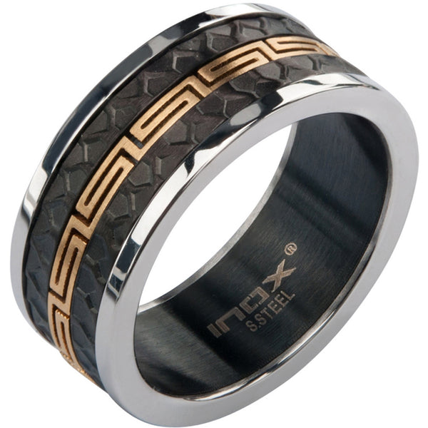 Inox 316L Stainless Steel  and Black Grecian textured Ring