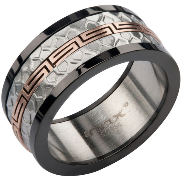 Inox 316L Black and Silver Grecian textured Ring