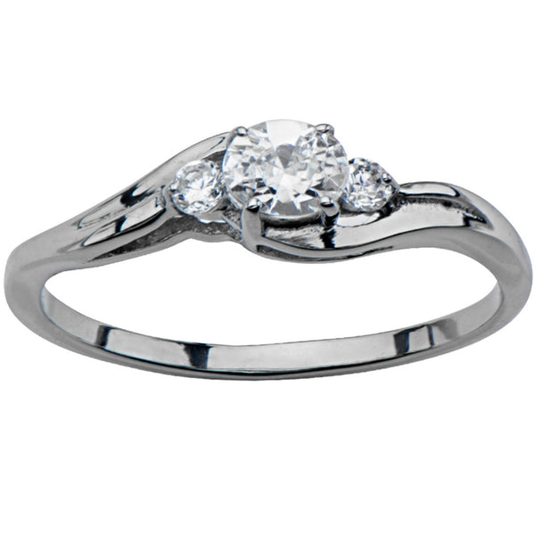 Inox 316L Silver Crested CZ engagement Ring