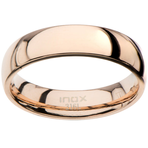 Inox 316L Men's Glossy Rose Gold Wedding Band