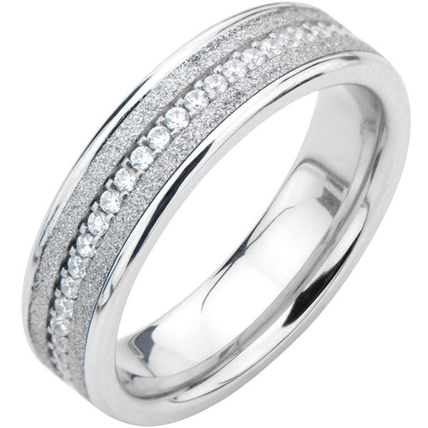 Inox 316L Channel Set CZ Shiny Sand Wedding Band.