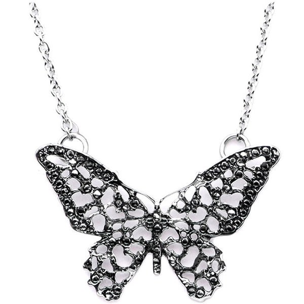 Inox 316L Steel Oxidized Filigree Butterfly Necklace