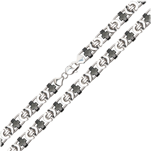 Inox 316L Steel 24 Inch IP Black Polished Chain