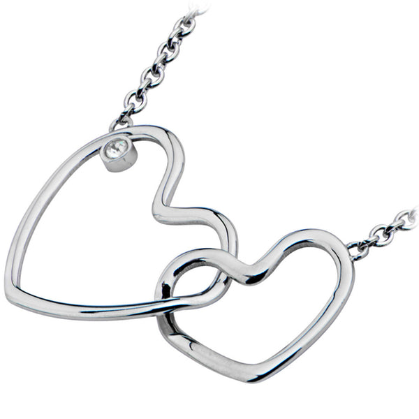 Inox 316L Steel 16 Inch Necklace With Heart Pendant and Cubic Zirconia