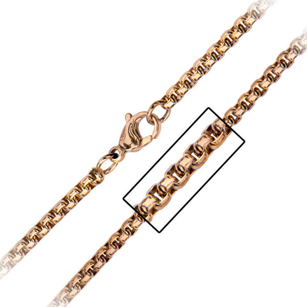 Inox 316L Steel Rose Gold IP 3mm Round Box Chain 20 to 30 Inch Lengths
