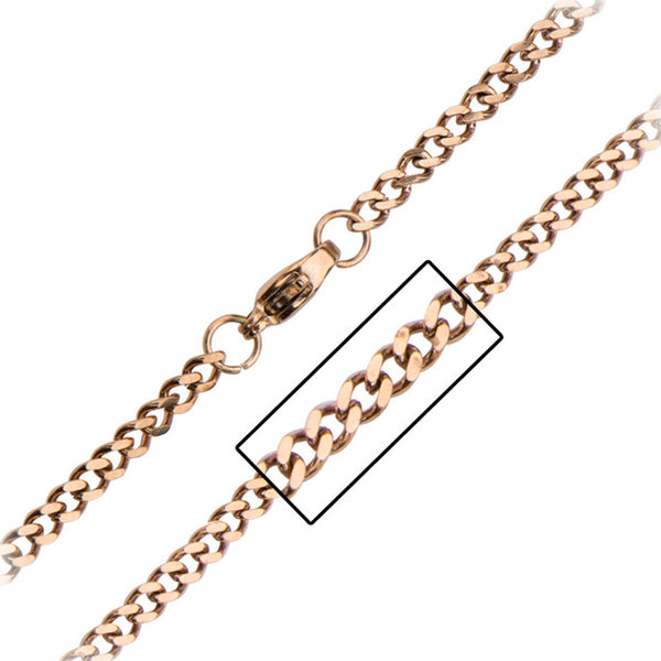 Inox 316L Steel Rose Gold IP 2mm Polished Finish Curb Chain 20 to 30 In Lengths