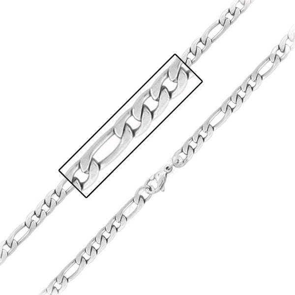 Inox 316L Steel 5.6mm Figaro Chain 18 to 30 Inch Lengths