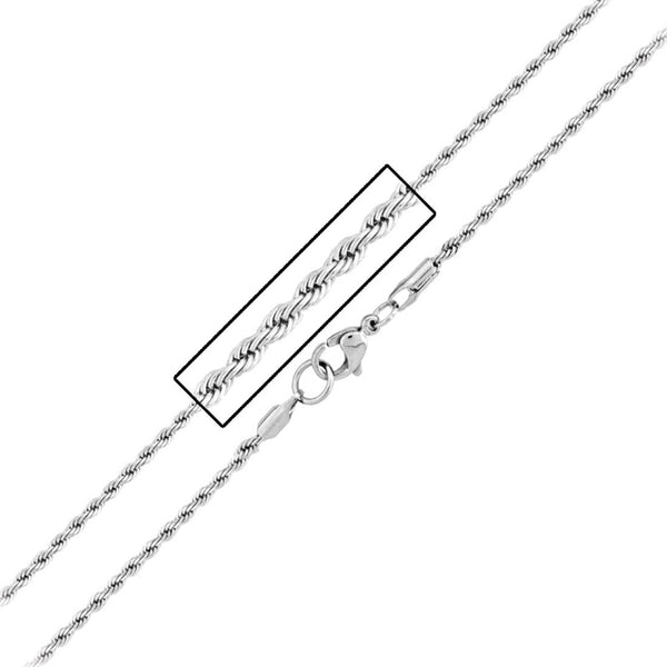 Inox 316L Steel 2.3mm French Rope Chain 18 to 30 Inch Lengths