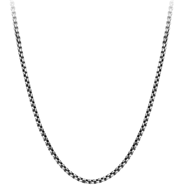 Inox 316L Steel Black Oxidized 3MM Box Chain 20 to 30 Inch Lengths
