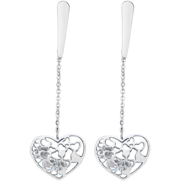 19mm Inox 316L Steel Heart Cubic Zirconia Dangle Earrings