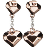 Inox 316L Steel Rose Gold Block Heart Dangle Stud Earrings
