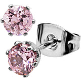 Inox 316L Steel 6 Prong Pink Stone Stud Earrings Sizes 4mm to 6 mm