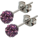Inox 316L Steel Plum Ferido Crystal Orb Stud Earrings Size 4mm