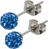 Inox 316L Steel Deep Azure Ferido Crystal Orb Stud Earrings Size 4mm