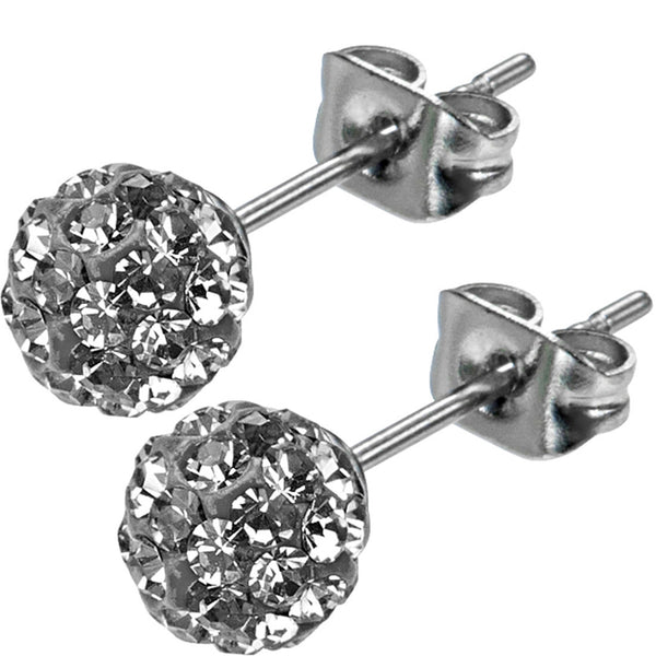 Inox 316L Steel Black Ice Ferido Crystal Stud Earrings Size 6mm
