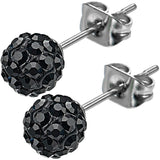 Inox 316L Steel Onyx Ferido Crystal Orb Stud Earrings Size 6mm