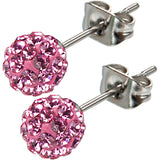 Inox 316L Steel Pink Ferido Crystal Orb Stud Earrings Size 6mm