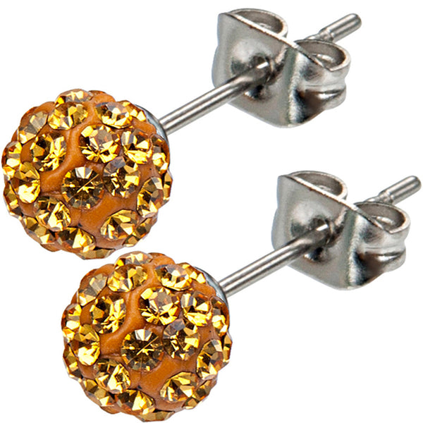 Inox 316L Steel Bronze Ferido Crystal Orb Stud Earrings Size 6mm