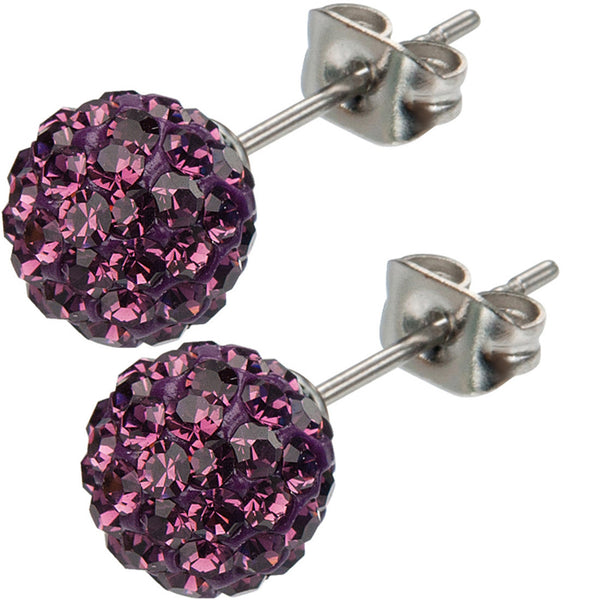 Inox 316L Steel Plum Ferido Crystal Orb Stud Earrings Size 8mm
