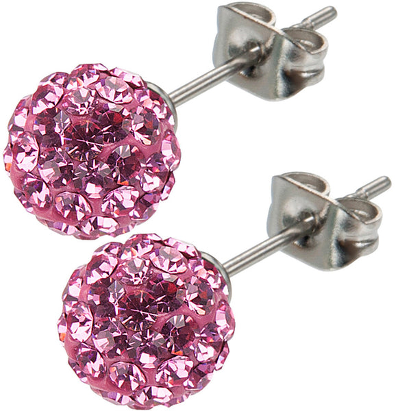 Inox 316L Steel Pink Ferido Crystal Orb Stud Earrings Size 8mm
