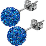 Inox 316L Steel Deep Azure Ferido Crystal Orb Stud Earrings Size 8mm