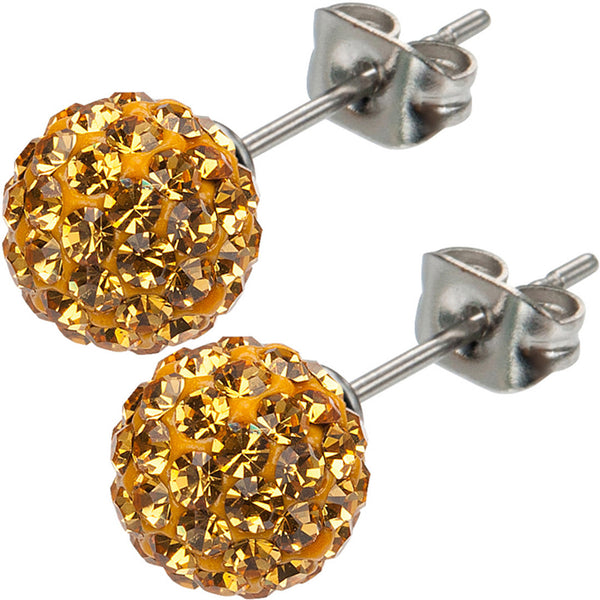 Inox 316L Steel Bronze Ferido Crystal Orb Stud Earrings Size 8mm