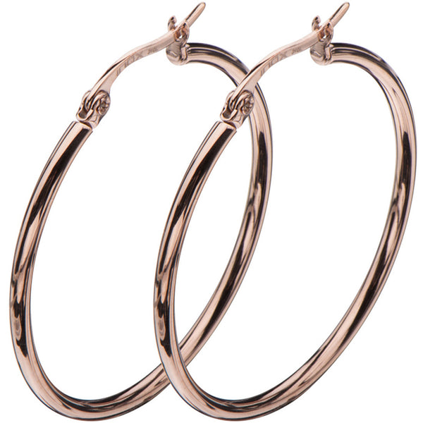 Inox 316L Steel Rose Gold IP Hoop Earrings Diameters 20mm to 50mm