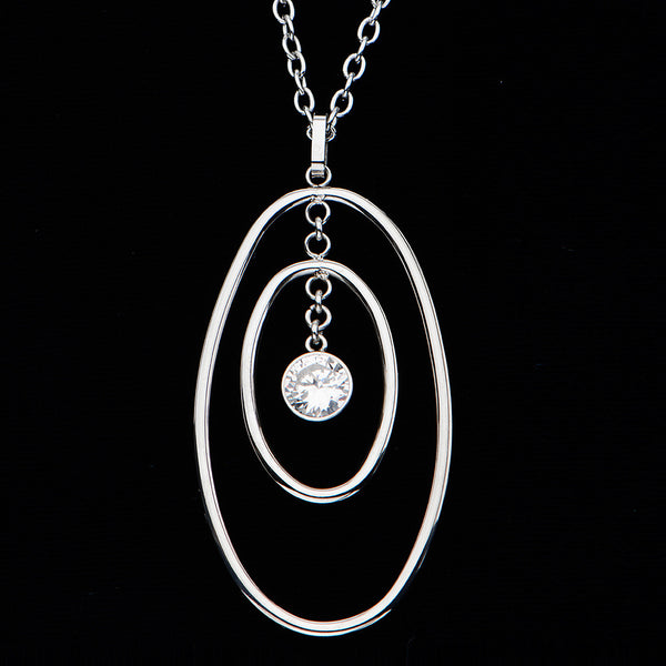Inox 316L Steel Multi Oval Link Pendant Necklace with CZ Stone
