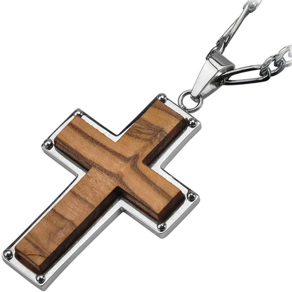 Inox 316L Steel Polished Olive Wood Cross Pendant
