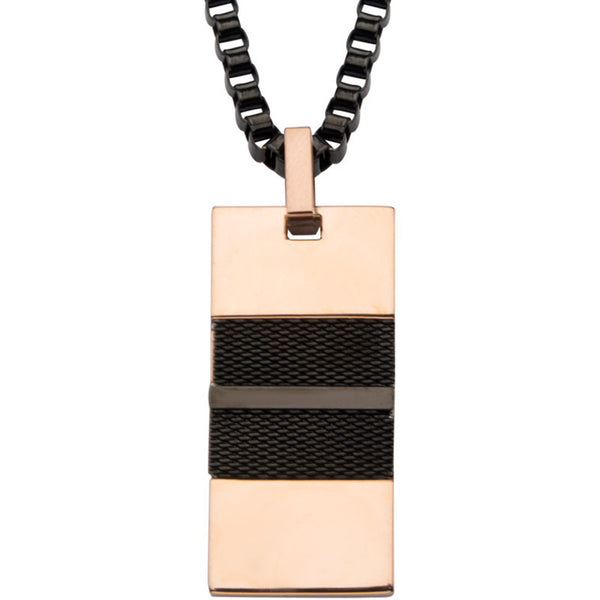 Inox 316L Rose Gold IP Black IP Men's Mesh Pendant