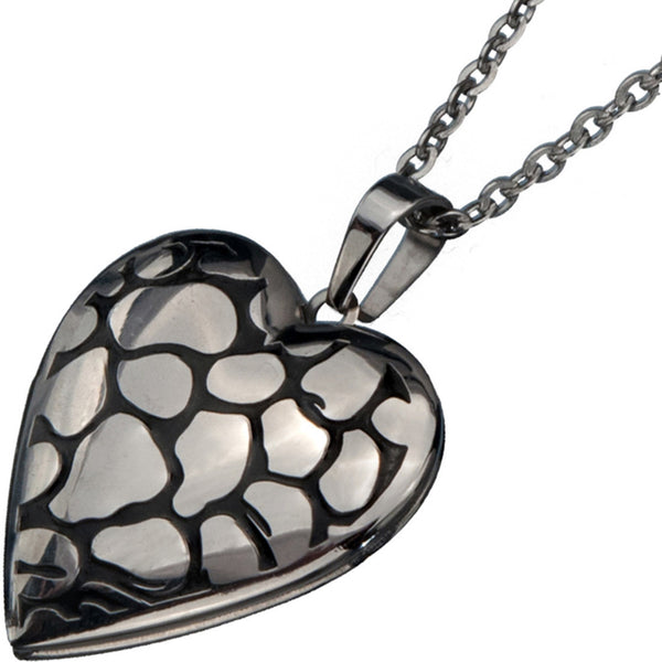 Inox 316L Steel Polished Pebble Heart Shaped Locket Pendant