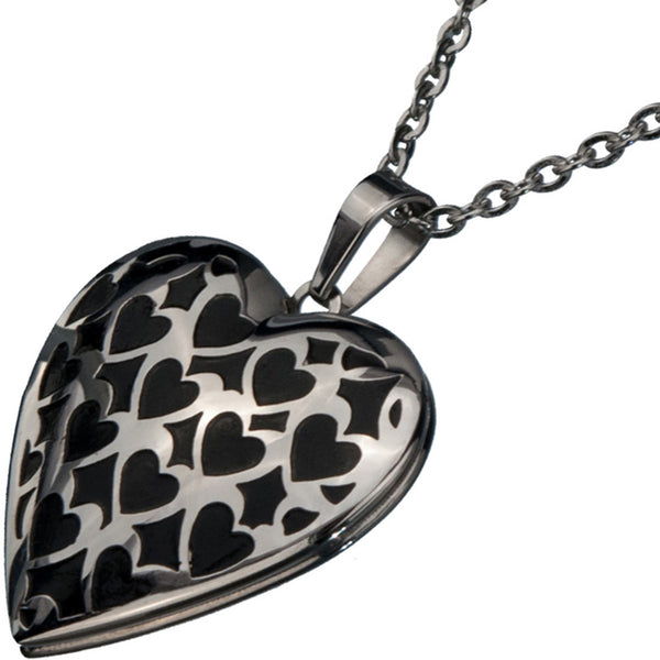 Inox 316L Steel Black IP Repeating Heart Locket Pendant