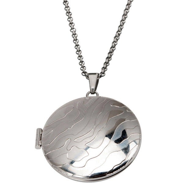 Inox 316L Steel Rounded Locket Pendant with Zebra Design