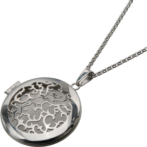 Inox 316L Steel Polished Rounded Locket Pendant with Vine Cut Out Design