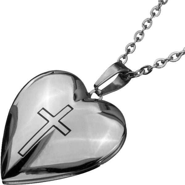 Inox 316L Steel Polished Heart Locket Pendant with Cross at Center