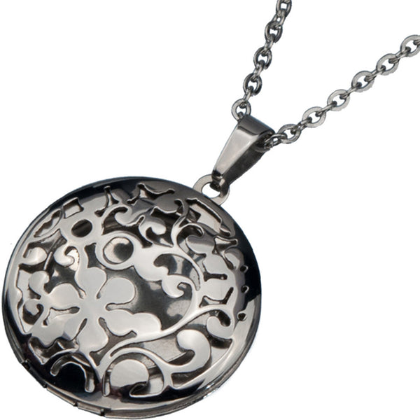 Inox 316L Steel Rounded Locket Pendant with Flower Cut Out Design